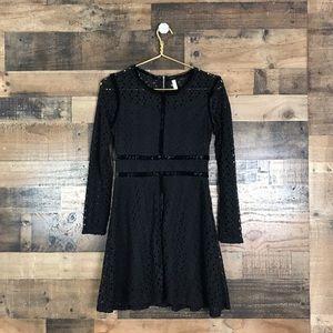Black Lace & Velvet long sleeve min dress size S